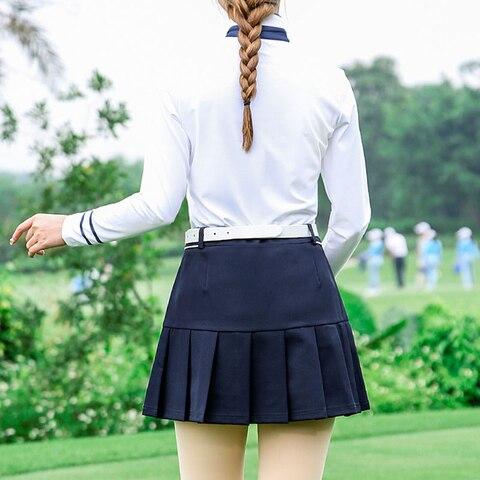Pgm Golf Apparel Women Pleated Skirt+ Button Collar Shirts Suit Ladies Tennis Skirts Long Sleeve Shirts Golf Clothing D0493 Multan