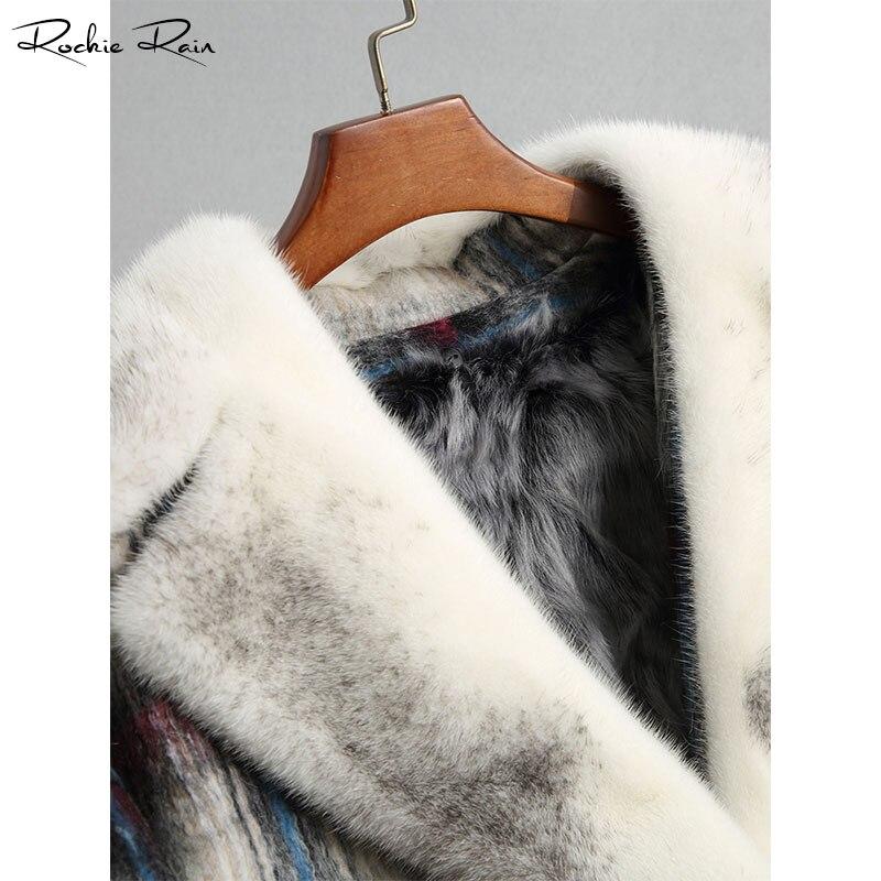 Avec Hiver cou V Réel Fourrure noir Vestes Pardessus Laine Doublure Vison Bourgogne D'agneau Femmes De Automne Manteaux Col Chaud Et IOxaq