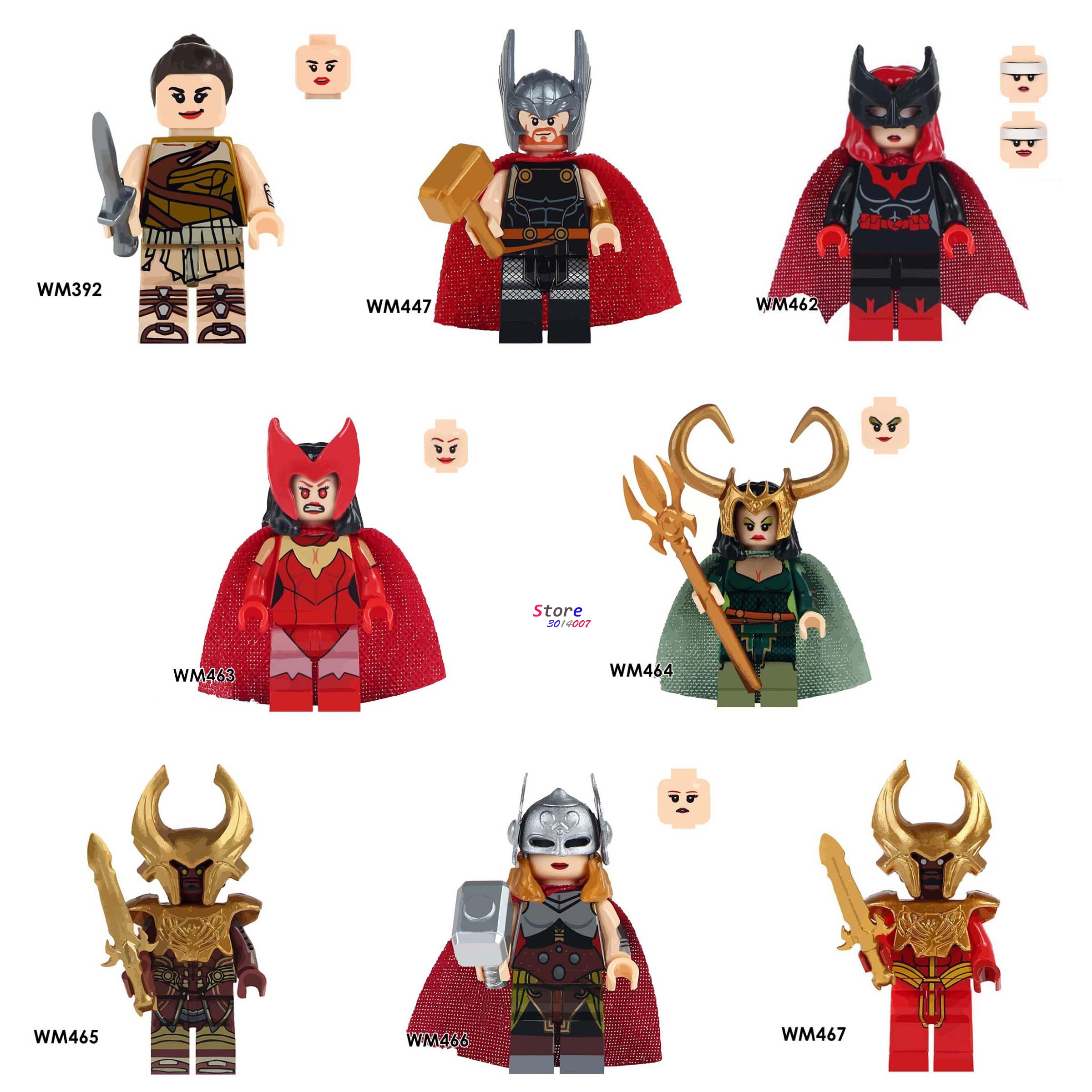 Single marvel Avengers Wonder Woman Figures Heimdallr Thor Lady Loki Knight Batman Scarlet Witch building block toy for children