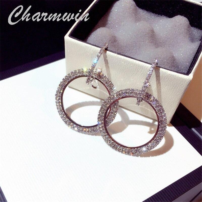 Charmwin New Fashion Hoop Earrings For Women Exaggerated Large Circle Rhinestone Big Dangle Earrings Jewelry Female PE1661 pair of charming rhinestone heart hoop earrings for women