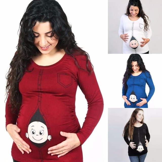 d4261f96a Puseky mujeres maternidad camiseta traje embarazo divertido manga larga  blusas camisas embarazadas foto Top Pullover ropa