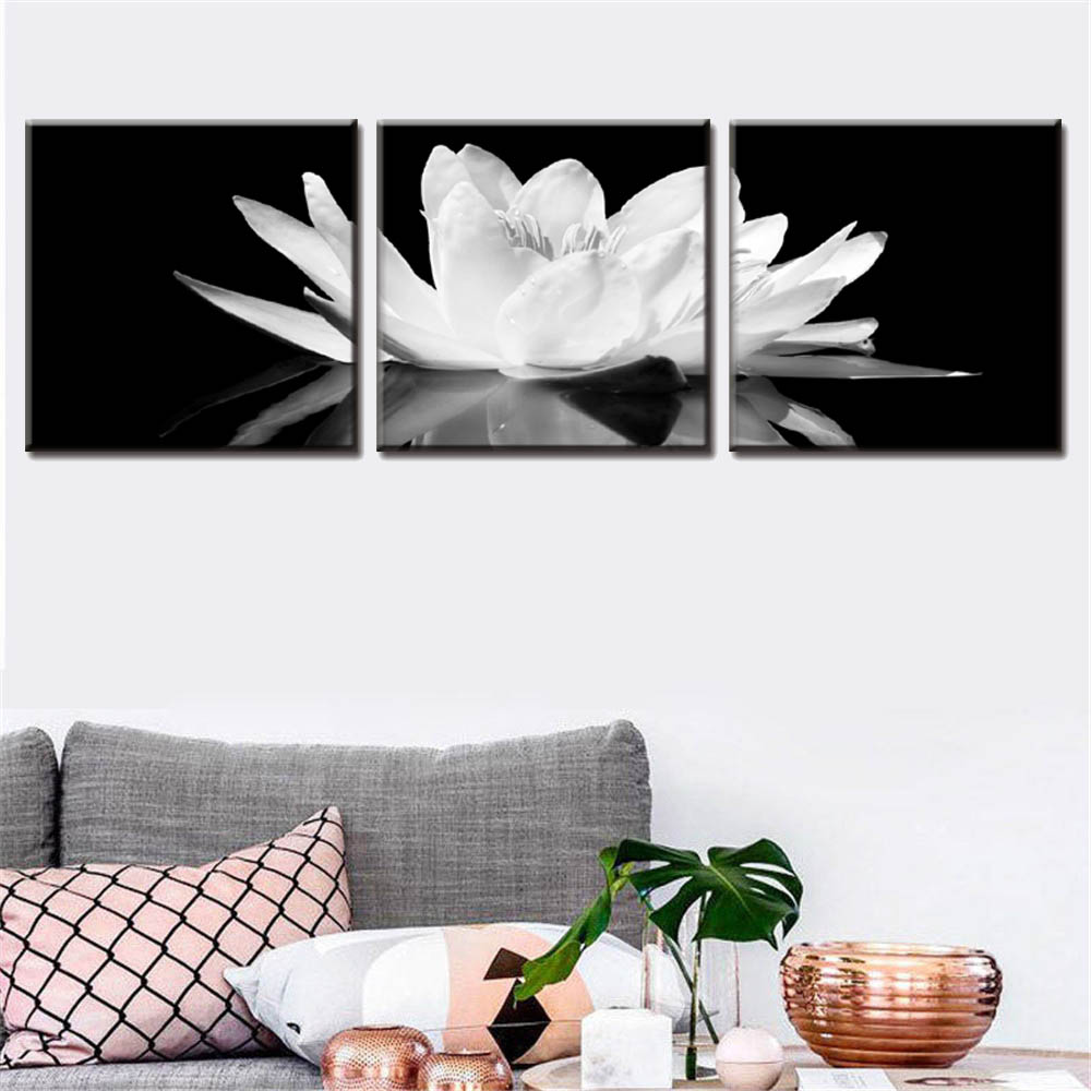 3 pcs set framed white lotus wall art black and white flower art canvas print painting for. Black Bedroom Furniture Sets. Home Design Ideas