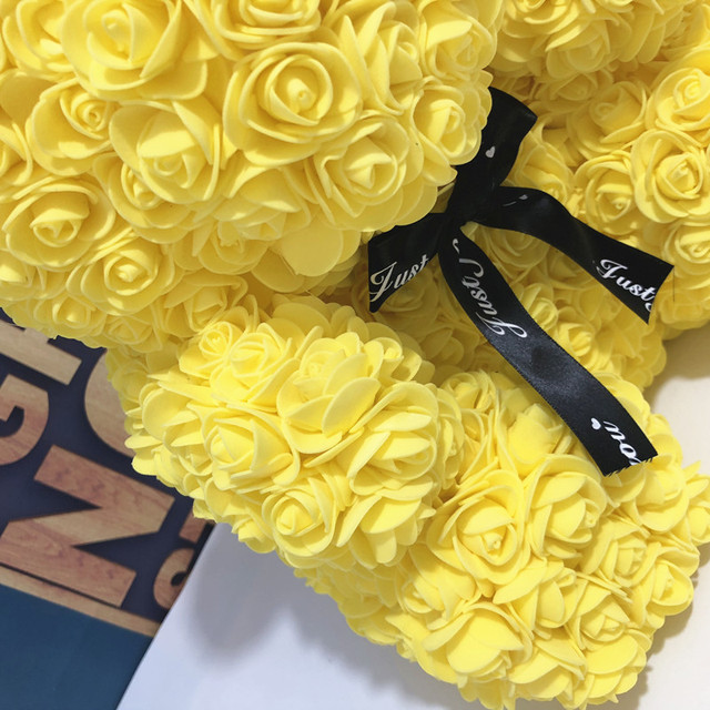 Wedding Customized Gift Multicolor Valentines Gift 40cm PE Yellow Rose Bear for Girlfriend Gift Anniversary Gift free shipping 4