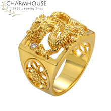 Hip Hop Yellow Gold Color Rings for Men Dragon Huge Ring Wedding Bands Bridal Jewelry Accessory Bague Homme Anel Anillo Bijoux