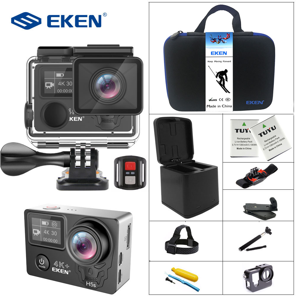 EKEN H5s Plus 4 k + Écran Tactile Caméra Ambarella A12 Chipset 4 k Stabilisation D'image WiFi Sony Capteur Capteur 2.0 pouce Écran Tactile