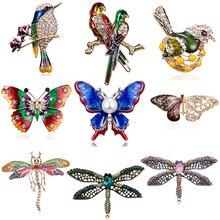 RINHOO модная разноцветная брошь ручной работы с бабочкой, парой птиц, стрекозой, кристаллами и стразами, булавка для женщин, Дамская бижутерия