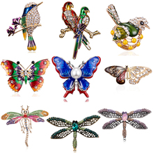 RINHOO Fashion Handmade Colorful Butterfly Couple Birds Dragonfly Crystal Rhinestone Brooch Pin for Women Lady Costume Jewelry брошь rinhoo jewelry pin w22977