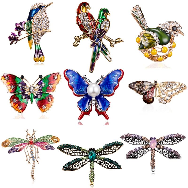 RINHOO Мода ручной работы Красочные бабочки пара товары для птиц Кристалл стрекозы горный хрусталь брошь булавки для женщин леди бижутерия