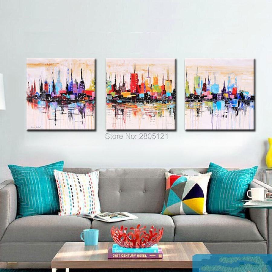 Ручная роспись Современная Абстрактная Картина на холсте картина яркая раскраска городской пейзаж домашний декоративный настенный маслом для дивана стены
