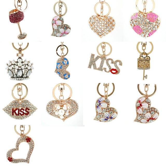 Pocałunek korona miłość serce torebka kwiat moda kryształ urok torebka torba Car Key brelok brelok delikatne nowe akcesoria do prezentów