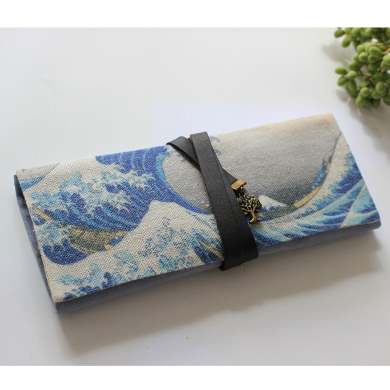 Vintage Kanagawa Roll Up School Supply Pencil Case Japanese