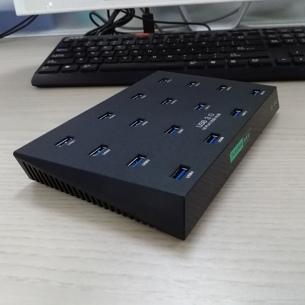 Multi-Ports Industrial USB3.0 Hub for TF SD U-disk Data Test Batch Copy - Black orico 30 ports industrial usb2 0 hub for tf sd u disk data test batch copy balck