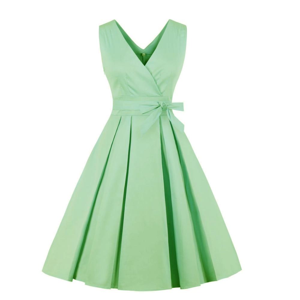 Junior Party Women 50s Vintage Plus Size Dress New Green Blue Red V Neck  Cotton Casual Dresses Women Clothes Robe Femme Ete 2018