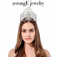 zerongE jewelry whoelsale Vintage Peacock Crystal tiaras large crowns crystal bridal crown wedding accessories tiara band