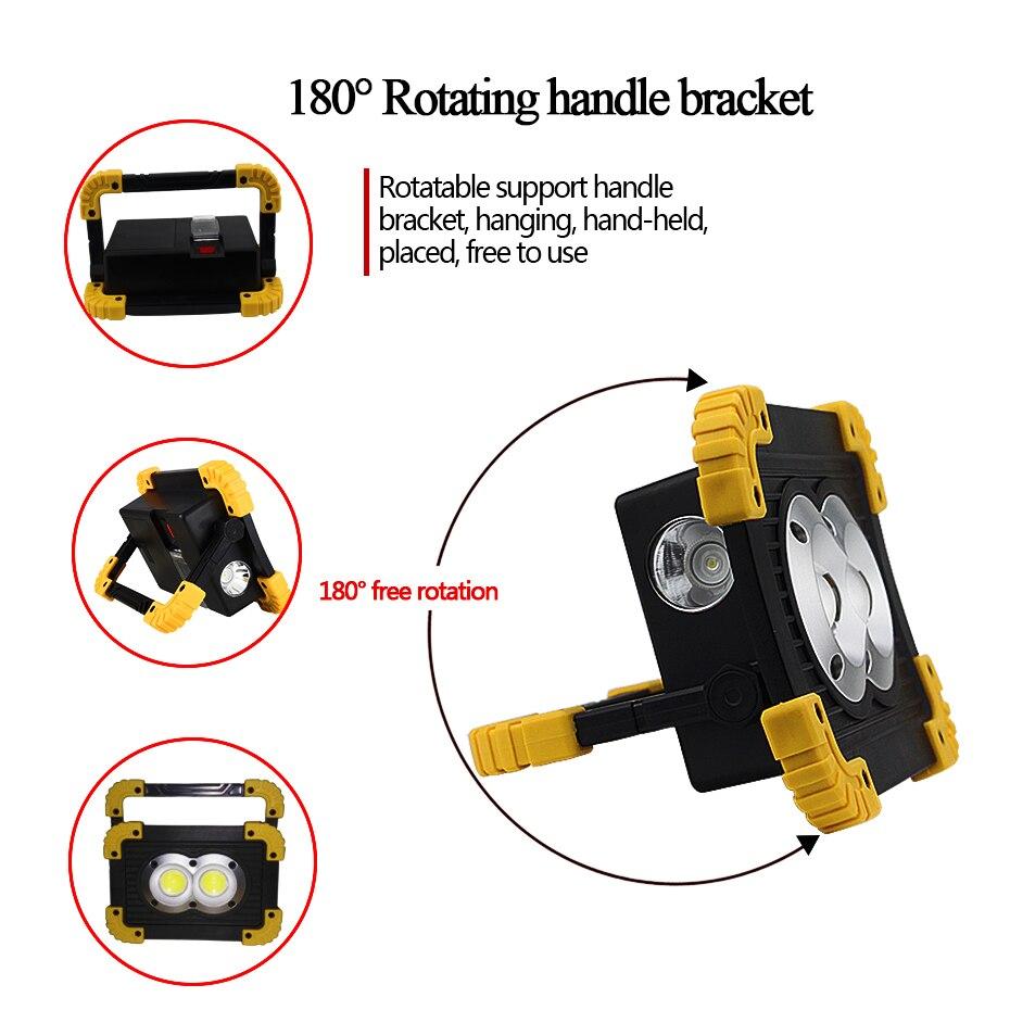 Portable Spotlight Work Light Waterproof Latern Led Flashlight USB Rechargeable Flood Light 4 Modes Outdoor Light 18650 Battery