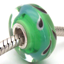 YJG28 Cylinder 100% S925 Sterling Silver Beads Murano Glass beads Fit European Charms Bracelet charms diy jewelry Lamp-work