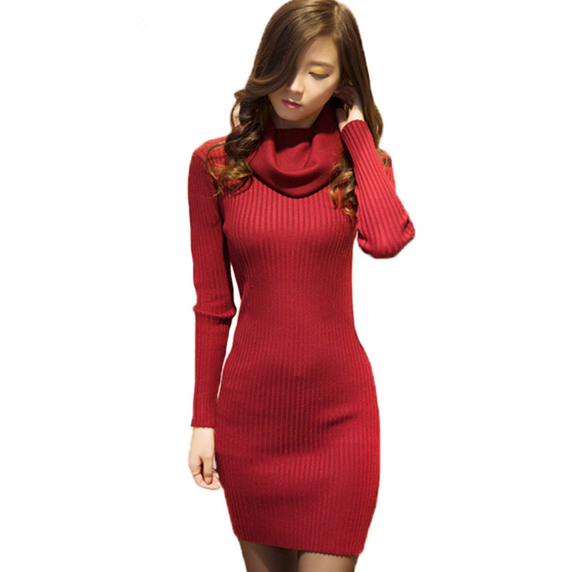 High Neck Mini Knitted Dress Womens Fall Winter Classic Basic Pullovers Sexy Bodycon Elastic Thick Warm Turtleneck Sweater Dress