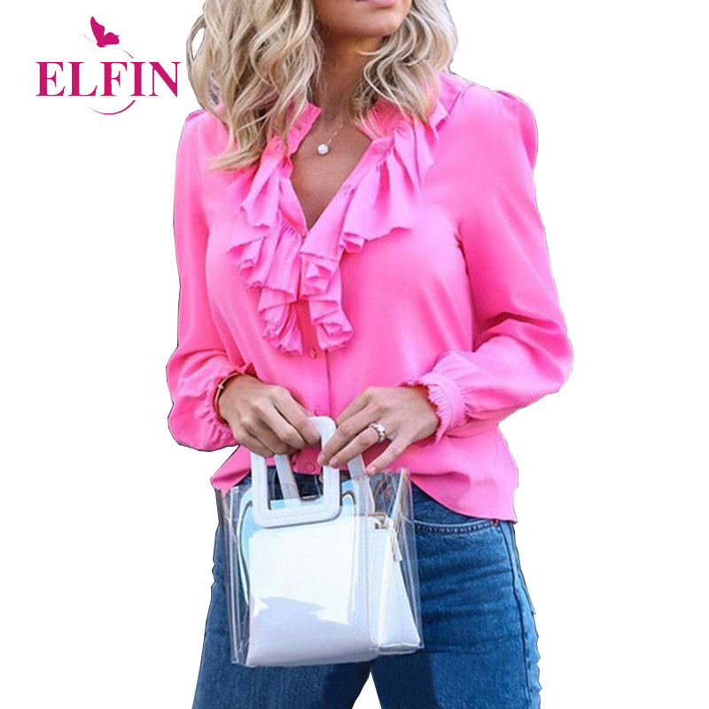 Womens Tops And Blouses Ruffles Long Sleeve Solid Elegant Blouses Woman 2019 Plus Size Blusas Femininas Korean Clothing SJ2909R