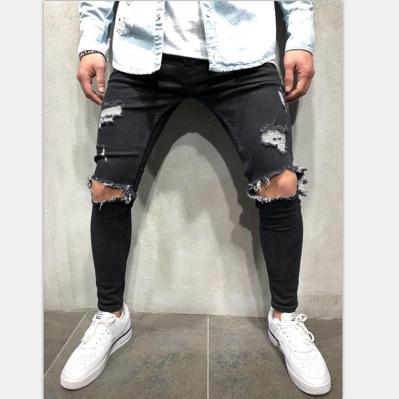 Men's Fashion Hole   Jeans   motorcycle Casual Stretch Slim 2019 New   Jeans   Classic Trousers Hip hop biker Denim Pants Male