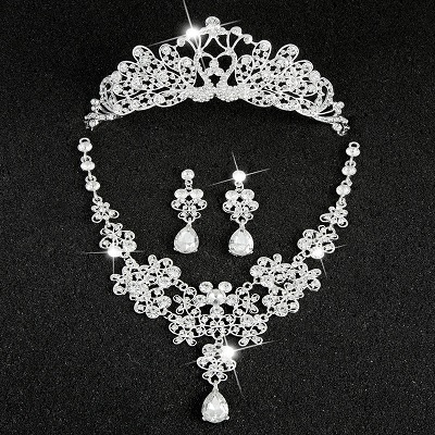 Hot Sale Sliver Plated Rhinestone Crystal Necklace+Earrings+Tiara 3pcs Jewelry Set For Bride Bridal Wedding Accessories (13)
