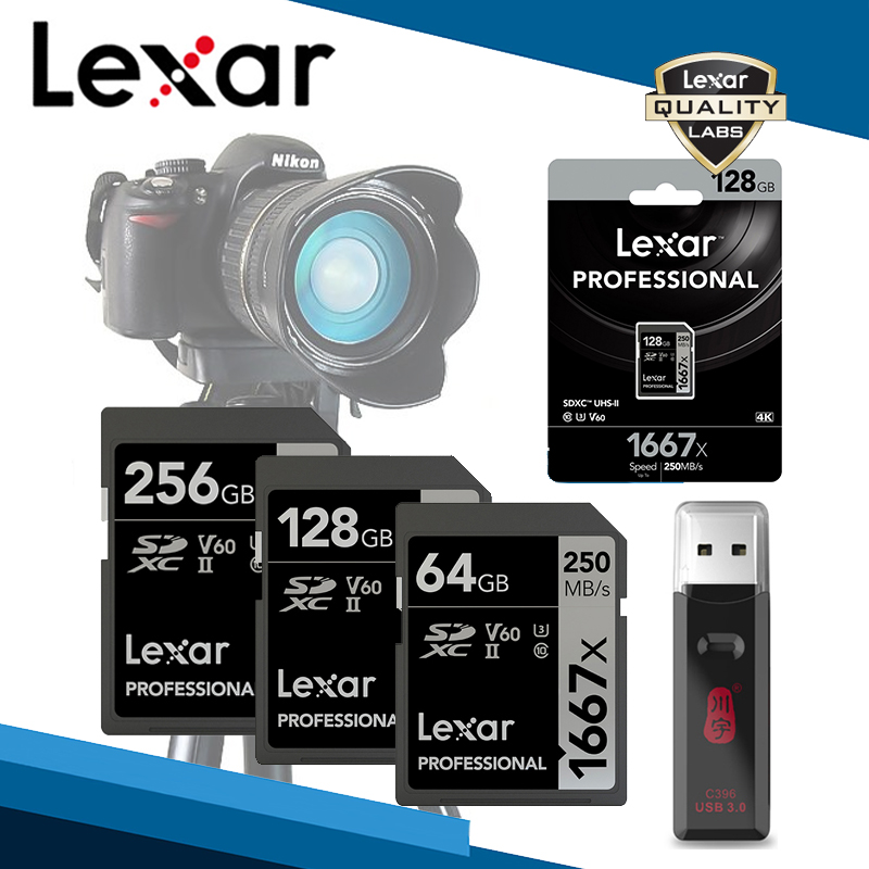 Lexar 256GB SD Card With Reader Professional SDXC 1667X Cards And Readers USB 3.0 UHS-II Class 10 U3 V60 4K Memory Card Storage