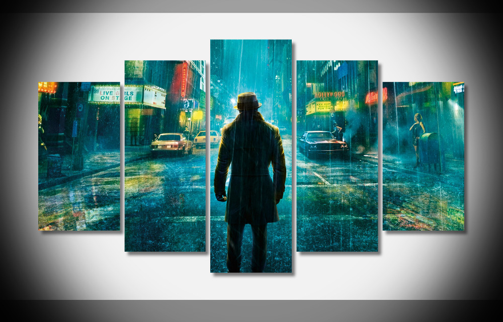 7378 watchmen movies rorschach night street urban neon raining Poster Framed Gallery wrap art print home wall decor Gift wall