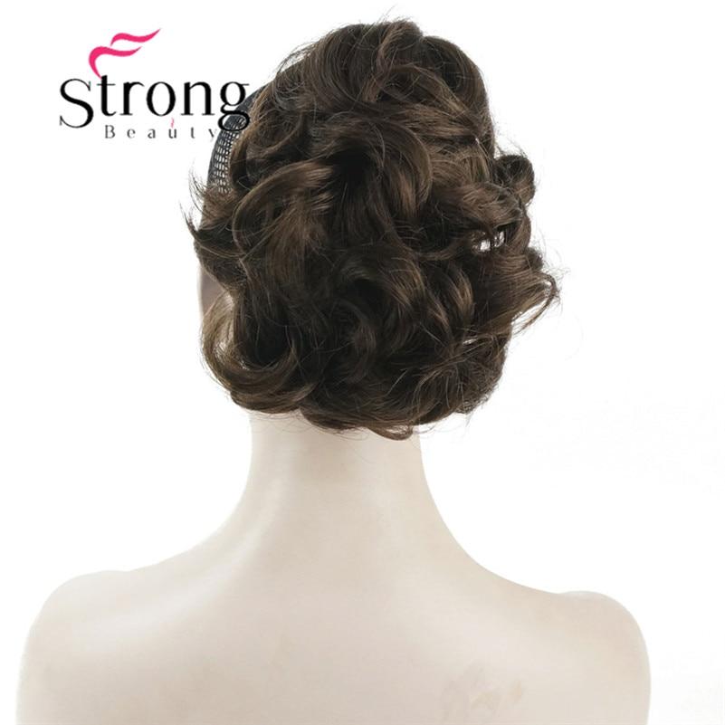 StrongBeauty Clip rizado corto en la cola de caballo de la garra extensión del pelo peluca sintética 80g con un clip de la mandíbula/garra