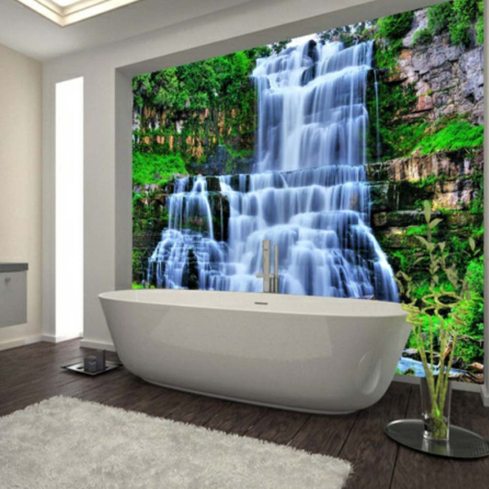 Large 3D Cliff Water Falls Shower Bathtub Art Wall Mural Floor Decals Creative Design For Home Decor Waterfall Wallpaper Rolls