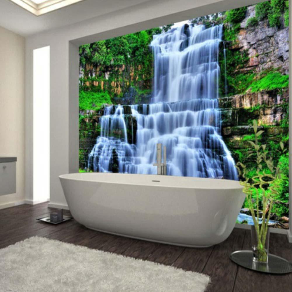 Large 3D Cliff Water Falls Shower Bathtub Art Wall Mural Floor Decals Creative Design For Home Decor Waterfall Wallpaper Rolls
