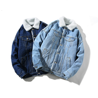 Winter Mens Denim Jacket Jeans Fur Coats Inside Turn Down Collar For Man Size M To