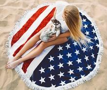Yoga Blanket Mat American Flag 3D Print Round Tapestry Camping Mattress Bikini Cover Up Beach Towel Bath Swim Shawl Wall Hanging dandelion print tapestry