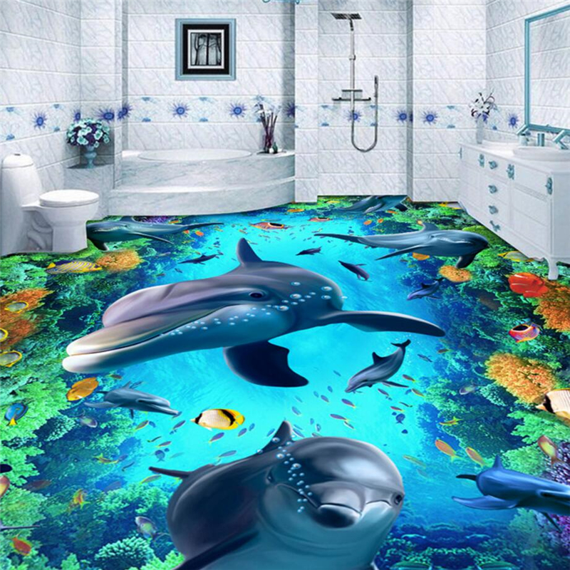 beibehang World Dolphins floor 3D wall paper painting bathroom mural self-adhesive PVC photo wallpaper contact-paper flooring world outside the window paper