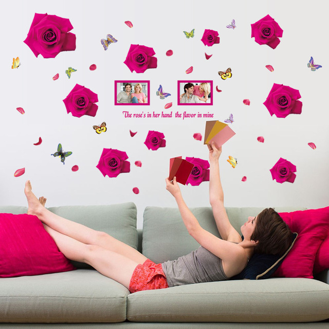 aliexpress : buy romantic roses large wall stickers flowers home
