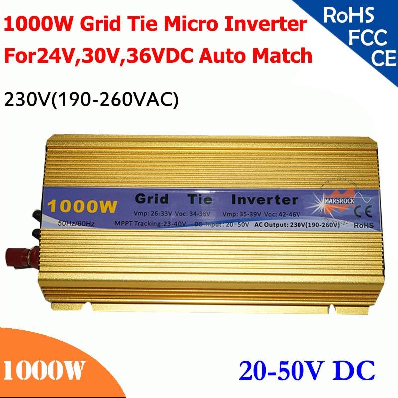 Grid tie micro inverter 1000W 20V-50VDC, 190V-260V AC, workable for 1200W, 24V, 30V, 36V solar panel or wind system, gold 1000w grid tie micro solar power inverter with power limiter dc22 60v ac 90 130v or 190 260v for 30v or 36v pv panels