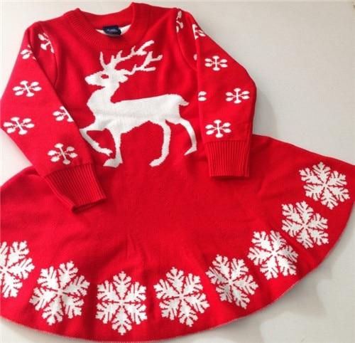 Girls England Style Brand Snow Sweater Dress Baby Girl Winter O ...
