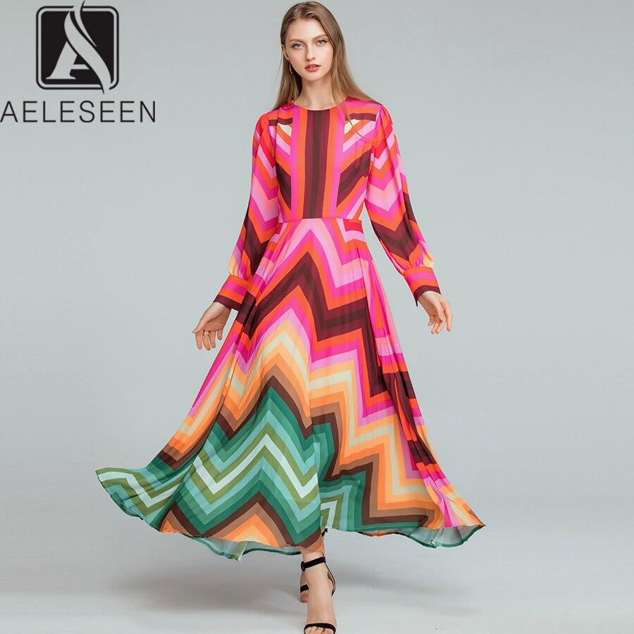 AELESEEN Boho Jurken 2019 Fashion New Runway Elegant Lange Mouwen Geometrische Gedrukt Contrast kleur Regenboog Zomer Lange Jurk-in Jurken van Dames Kleding op  Groep 1