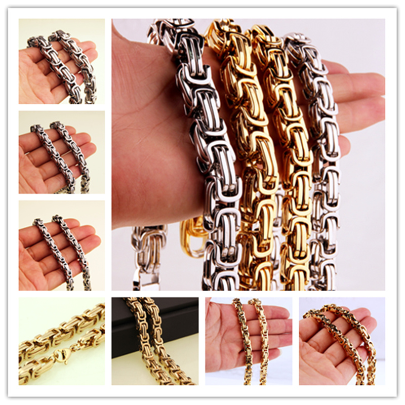 """Charming 7-40/"""" 6//8//11mm Stainless Steel Women Mens Byzantine Chain Necklace"""
