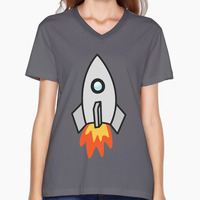 Rocket Ship Space V-neck Cotton Funny Tee for Women Graphic Printed Short-sleeved Top Tees
