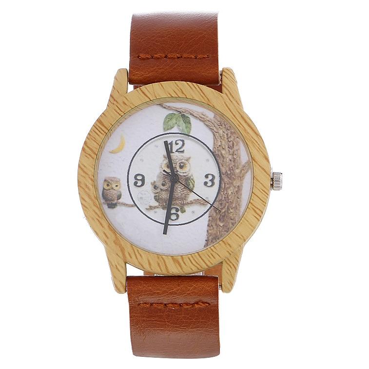 Fashion Owl Cartoon Watch Wooden Quartz Watches Men Women Gift Leather Band Modern Analog Wrist Watch Relogio Masculino Reloj