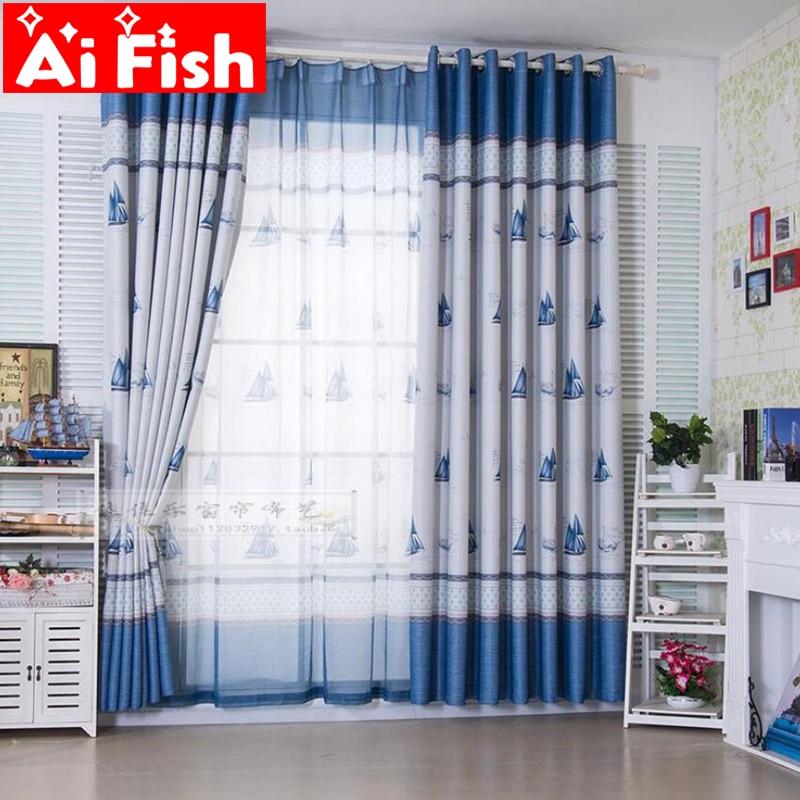 Europeisk stil Barn Elegant Blå Ocean Segelbåt Mönster Blackout Duk Gardiner För Vardagsrum Par Cozinha DY006-15