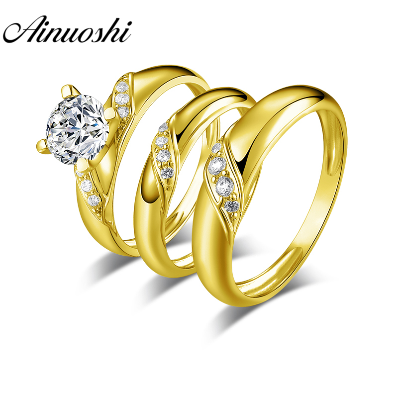 AINUOSHI Real Gold TRIO Rings 14K Yellow Gold Couple Wedding Ring Set Twisted Plain Band Lover