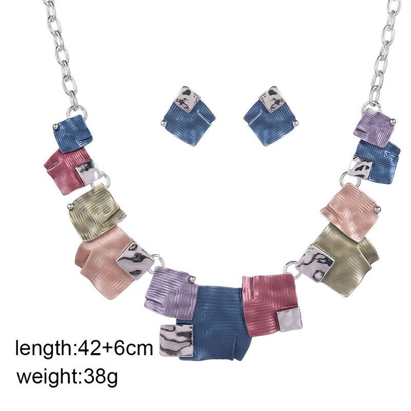 Fashion African Costume Jewelry Sets Chain for Women Enamel Necklace Geometric Earrings Necklaces Set Summer Enamel Alloy Choker