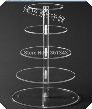 Hot shoppingFree Shipping! Beautiful 5 Tier Round Clear Acrylic Dessert Tier Stand Cake Stand For Wedding Maypole Cupcake Displa