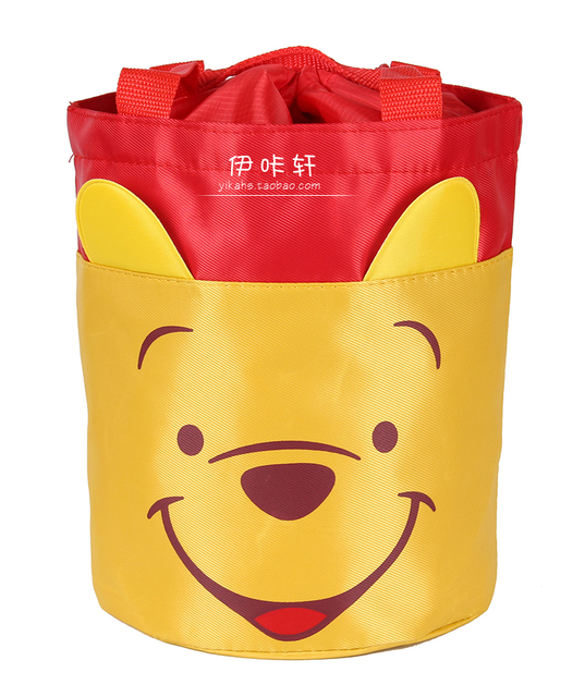 Waterproof Cylindrical Cartoon Cute Portable Drawstring Insulated Lunch Bags for Kids Tote LunchBag Lunchbox Circular Barrel Box