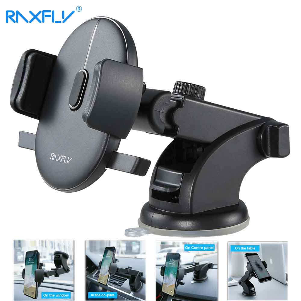 RAXFLY Windshield Mount Car Phone Holder in Car For Samsung S9 S8 Plus 360 Rotation Car Holder For iPhone X Phone Stand Support
