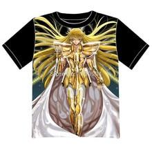 Envío Gratis Saint Seiya Anime manga T-shirt Las Mujeres de Los Hombres Cosplay Camiseta de Malla Negro Tee 007