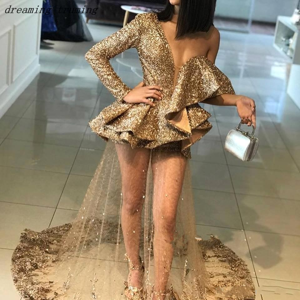 Sexy Illusion or paillettes robes de bal 2019 profonde col en V robes de soirée voir à travers Chic robe de soirée festa de formatura