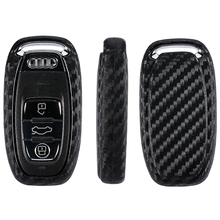 Carbon Fiber Pattern Silicone Car Key Case For Audi A6L A4L Q5 Keys Holder Keychain Styling protector