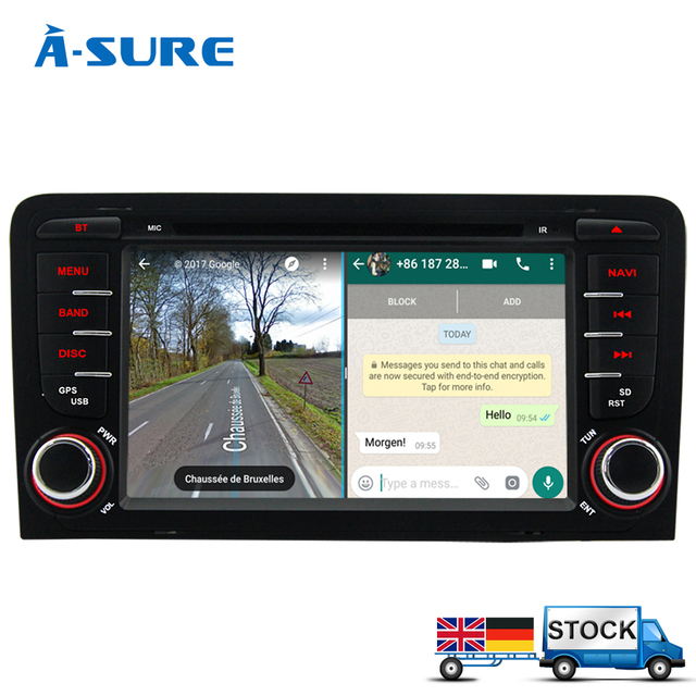 a sure 7 android 7 1 car gps navi for audi a3 2003 2011. Black Bedroom Furniture Sets. Home Design Ideas