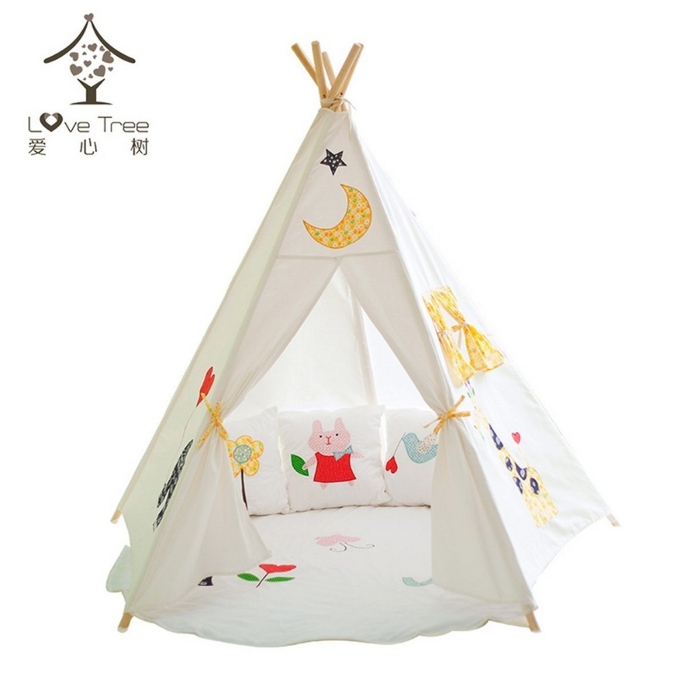 Dream house kids game house classic solid white four poles for Dog tipi diy